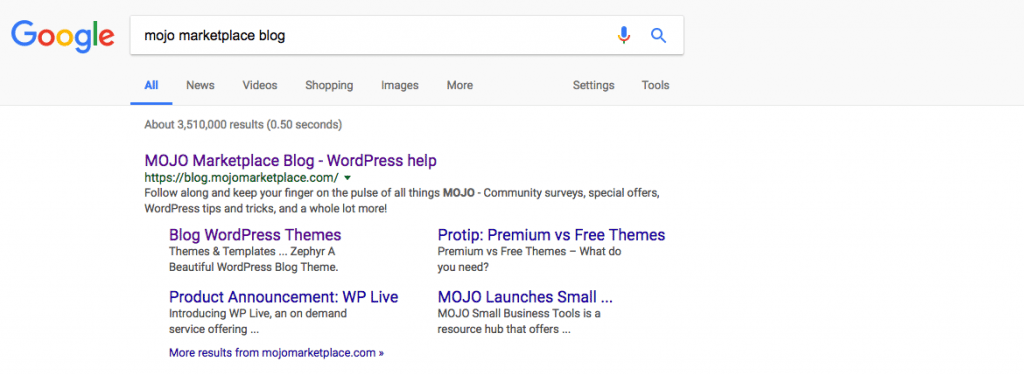 MOJO Blog's SERP Features