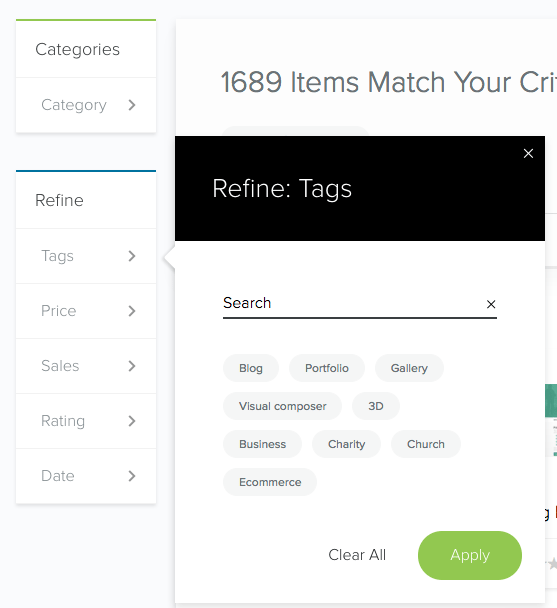 MOJO Marketplace search by tags
