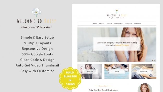 daisy premium blog wordpress theme