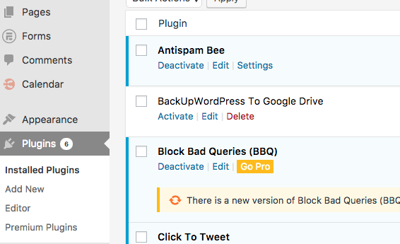 click Plugins from the WordPress dashboard to view your installed plugins or add new plugins