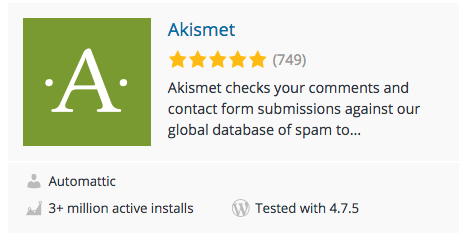 Akismet plugin rating example on wordpress.org