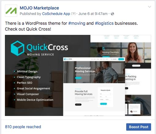 quick cross wordpress theme promoted on mojo marketplace facebook