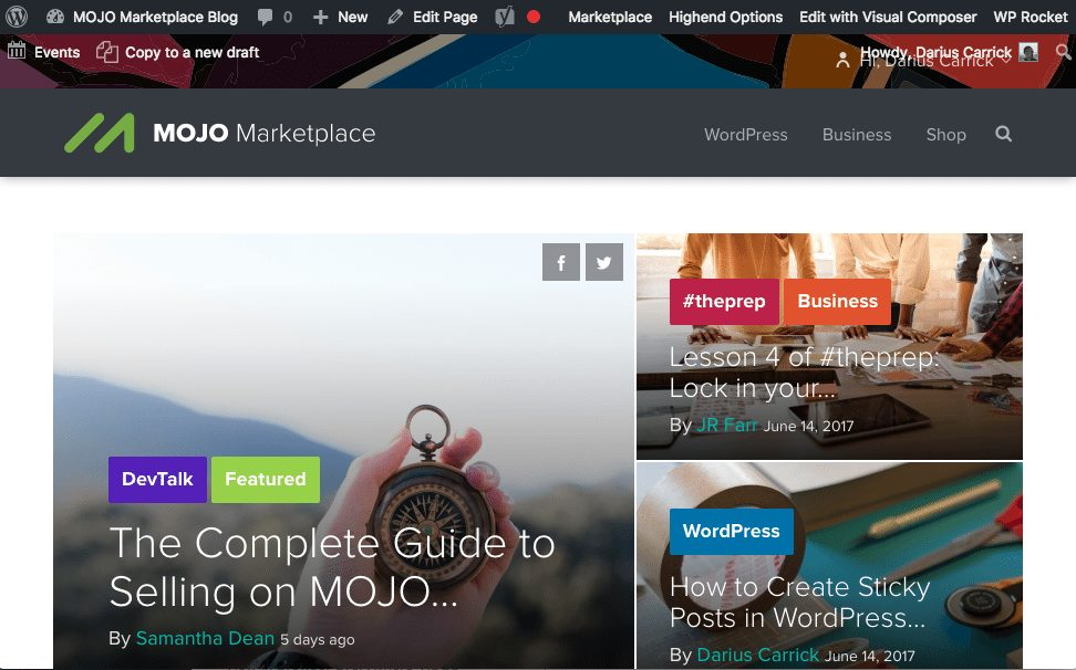 MOJO Marketplace blog wordpress front end