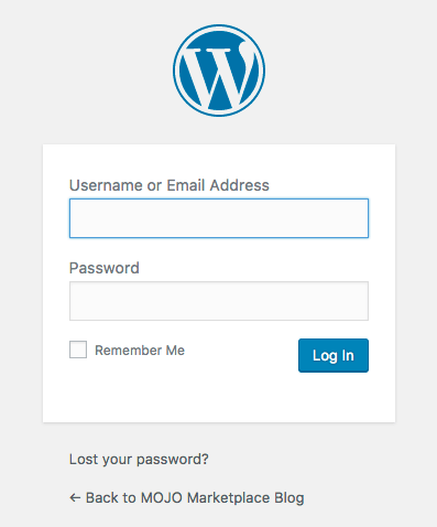 WordPress back end dashboard login prompt