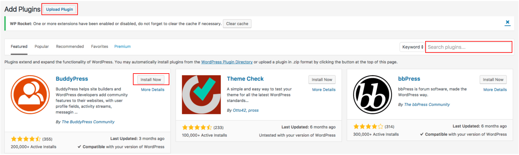 example of how to install a wordpress plugin from the dashboard