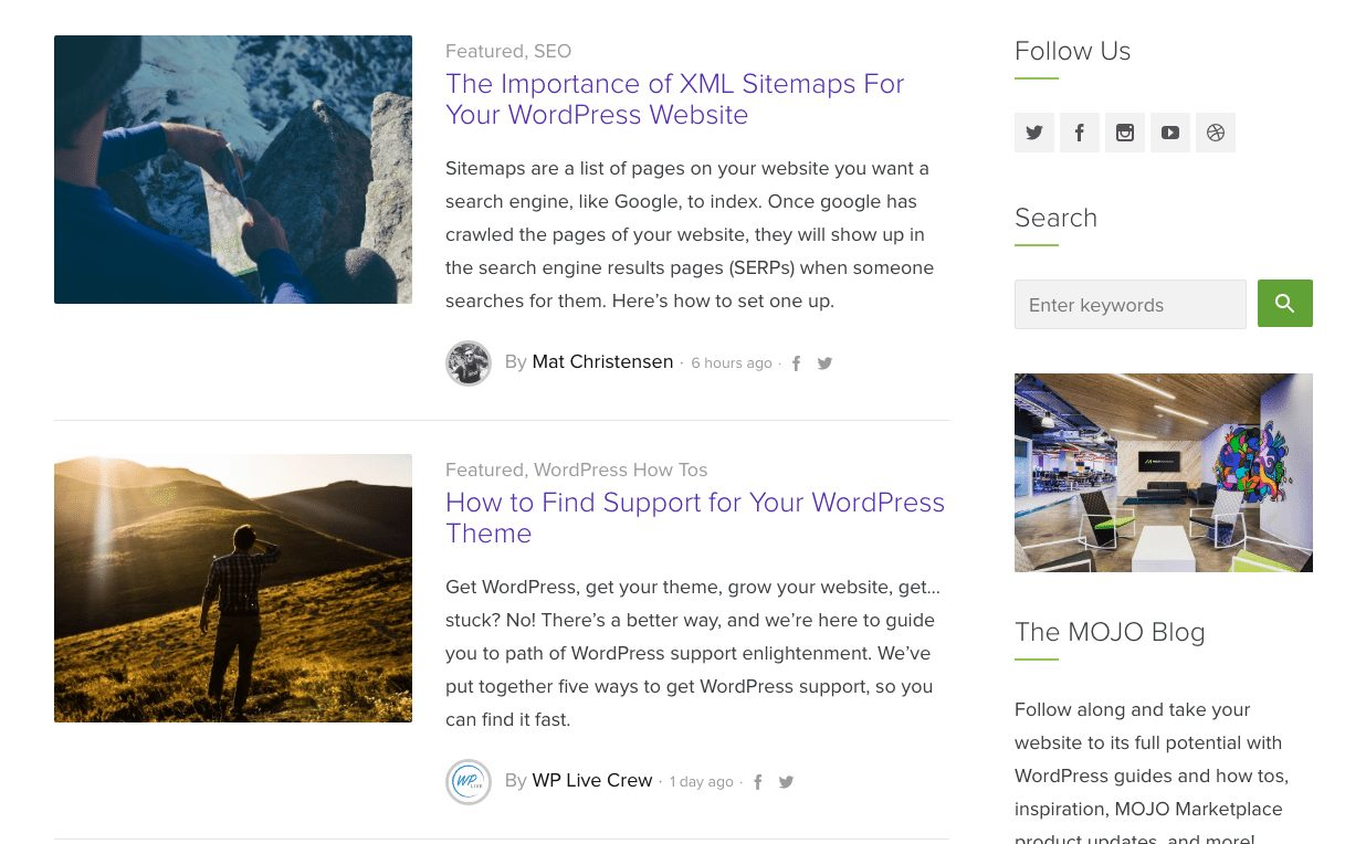 WordPress Posts Publish to Your Blog Feed - The MOJO Marketplace Blog Feed, for Example