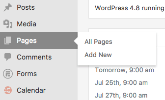 You Can Add New WordPress Pages through the WordPress Admin Dashboard on the Left Sidebar