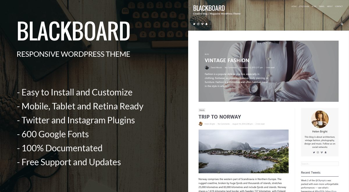 Blackboard Beginner WordPress theme