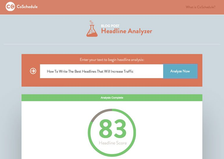 CoSchedule headline analyzer for content marketing