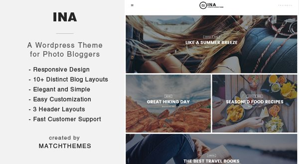 Ina - Photo Blogging WordPress Theme