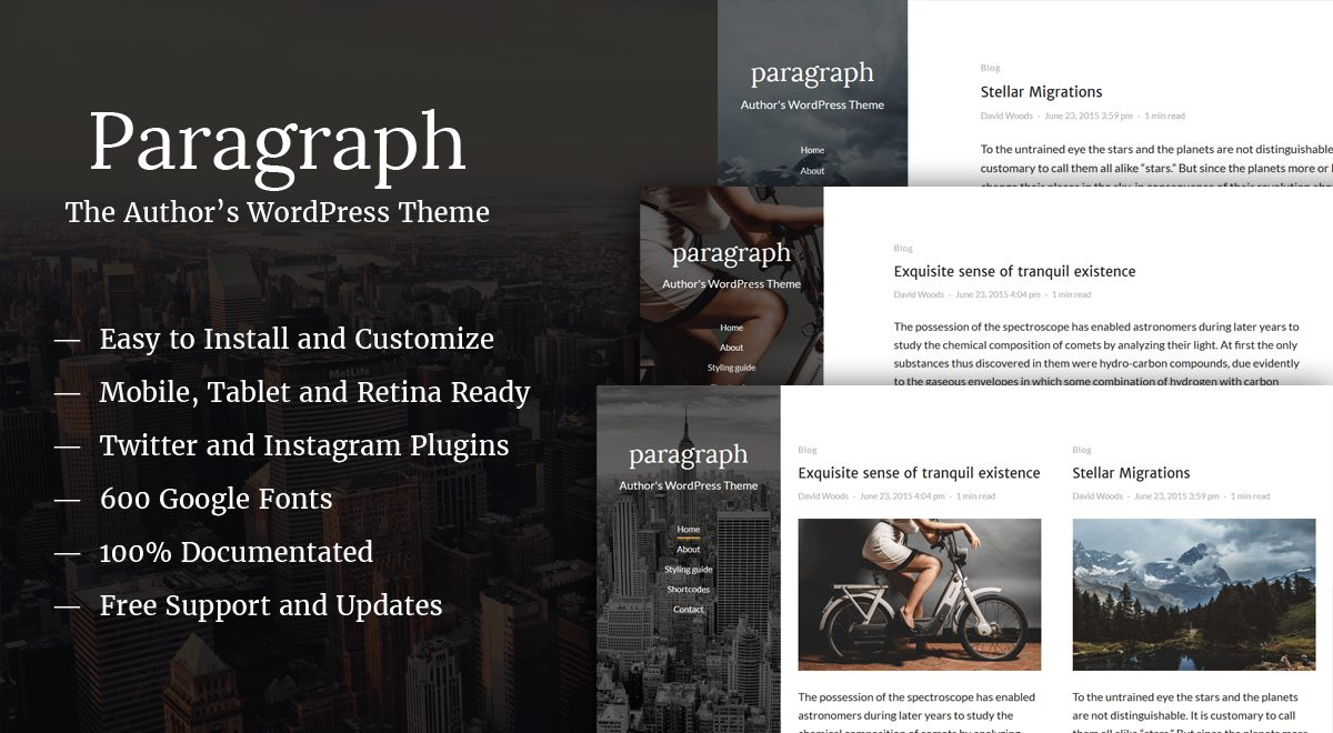 paragraph beginner wordpress theme