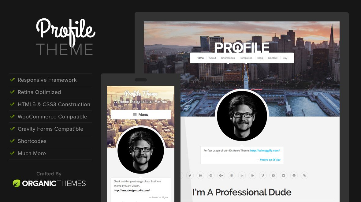 profile beginner wordpress theme