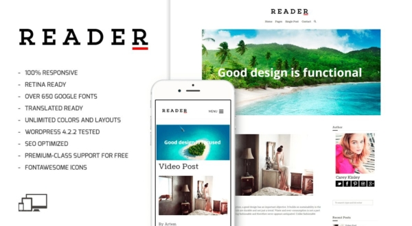 Reader beginner wordpress theme