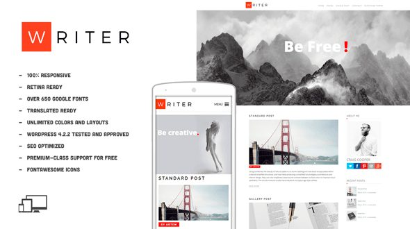 writer beginner wordpress theme