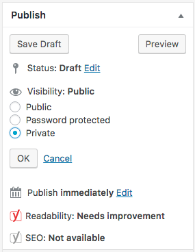 Change Your WordPress Posts to Private from the Publish Settings Box