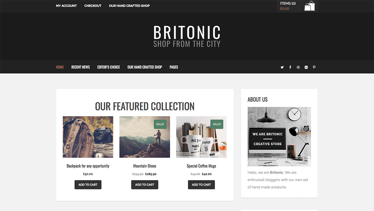 Premium Coding's Britonic Blog and Shop WordPress Theme - MOJO Marketplace