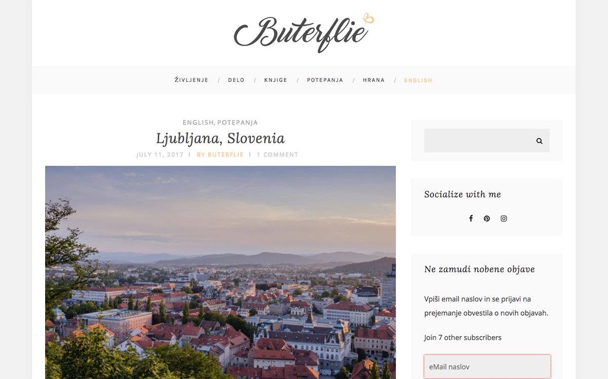 Buterflie uses the Everly minimal blog theme from Premium Coding