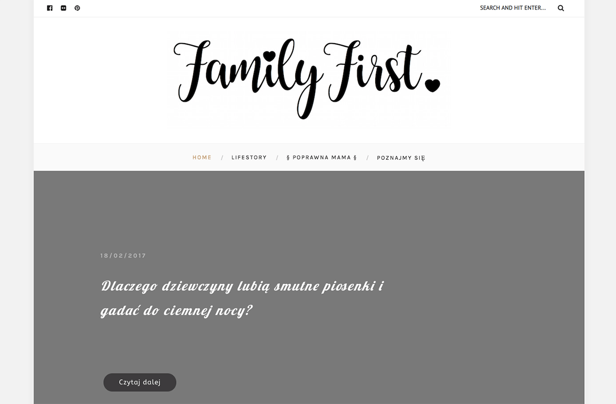 family first website built with the Everly WordPress blog theme