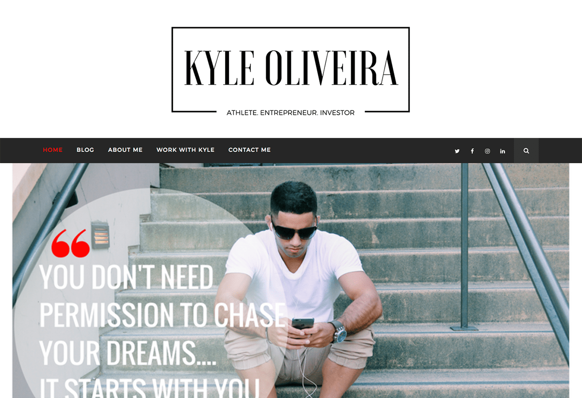 kyle oliveira website built with the hayes travel blog theme