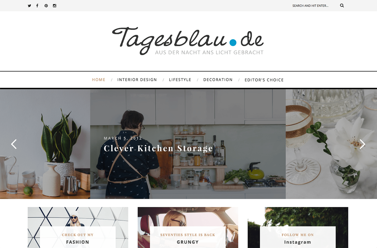 tagesblau.de built with the everly blog theme