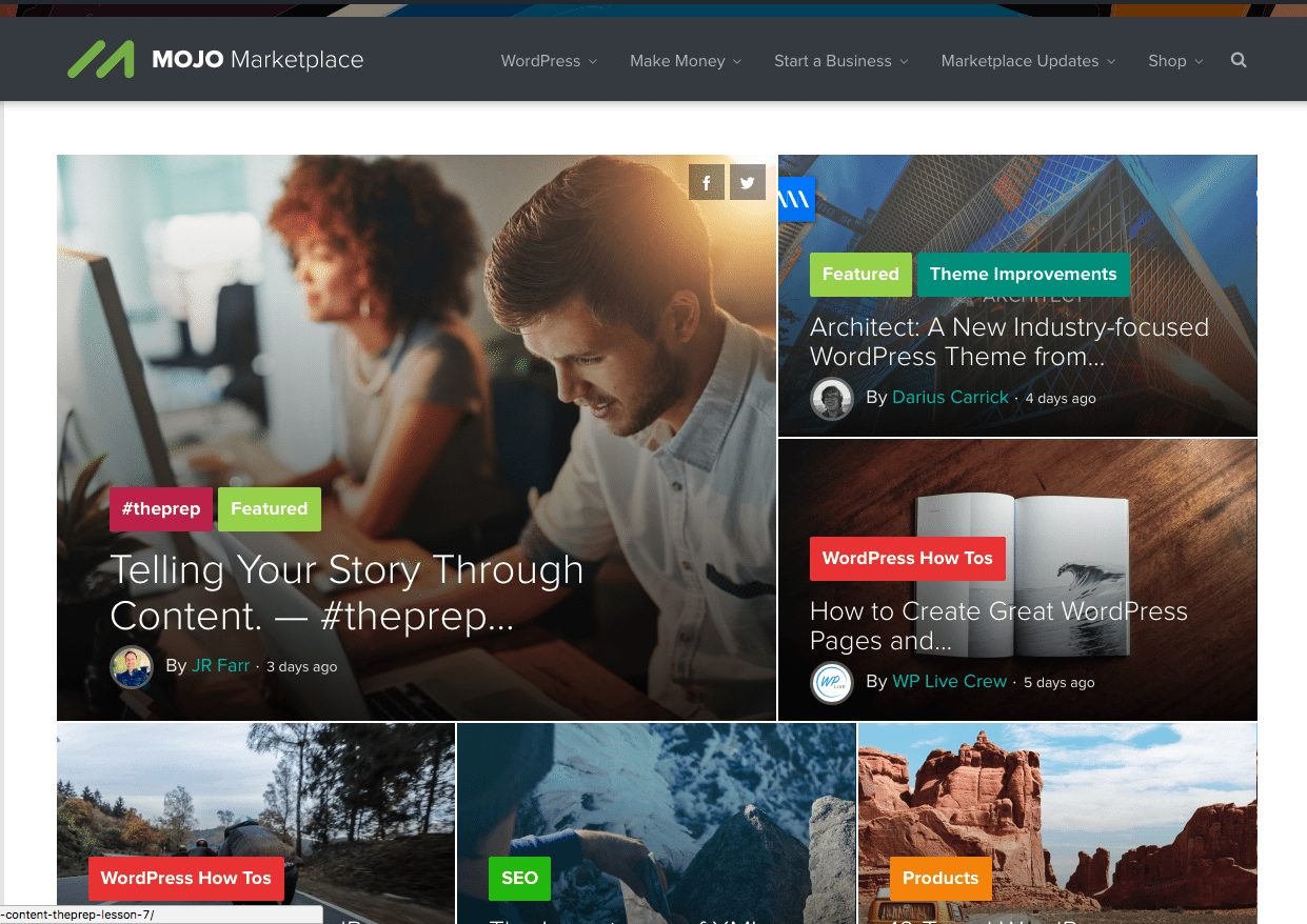 Example of the MOJO Marketplace WordPress Homepage with the Blog Feed
