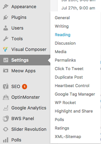 choose settings and reading from the WordPress admin dashboard to change the homepage from blog posts to static page
