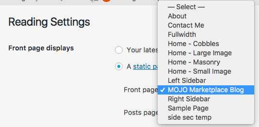 choose a new static frontpage from this dropdown menu