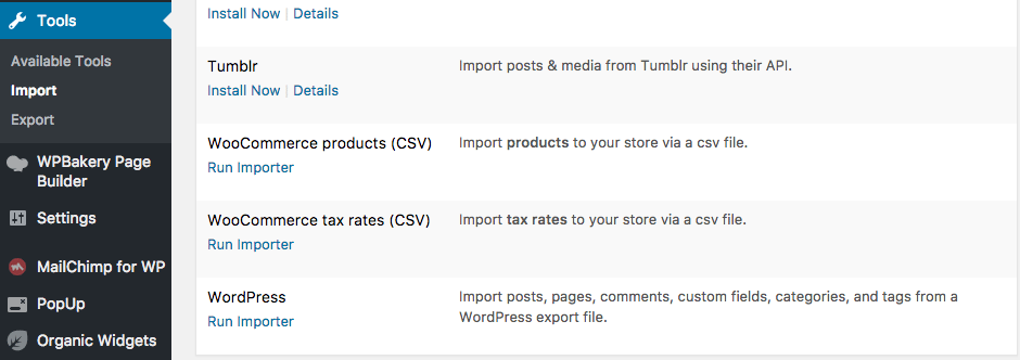Find the import function from the tools menu to start importing your theme demo manually.