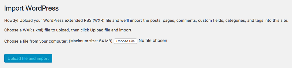 After clicking run importer, you will be prompted to upload a demo file.