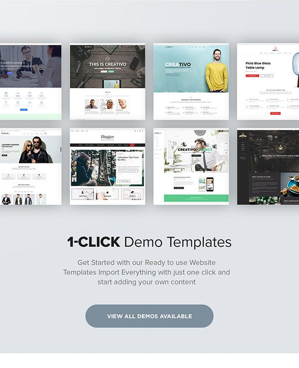 Example of 1 click demo feature on Creativo WordPress theme