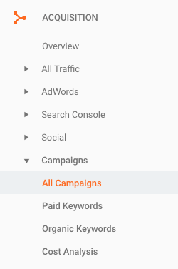 By accessing Acquisition, then Campaigns, and All Campaigns, you can view and search for your UTM link data