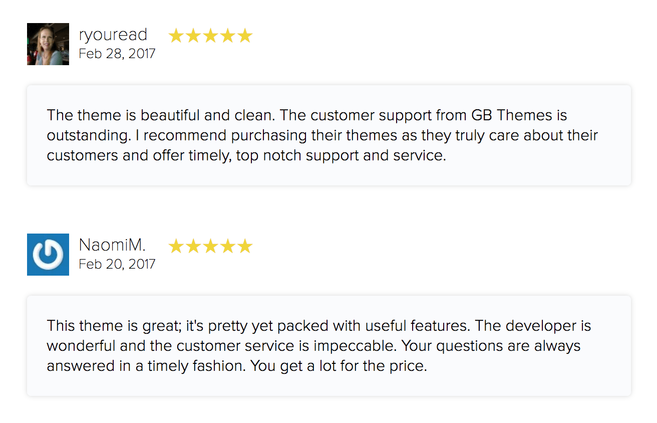 Blogger Reviews: The theme is beautiful and clean. The customer support from GB Themes is outstanding. I recommend purchasing their themes as they truly care about their customers and offer timely, top notch support and service. | This theme is great; it's pretty yet packed with useful features. The developer is wonderful and the customer service is impeccable. Your questions are always answered in a timely fashion. You get a lot for the price.