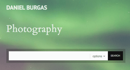 Daniel Burgas's photography website features a prominent search bar for photography