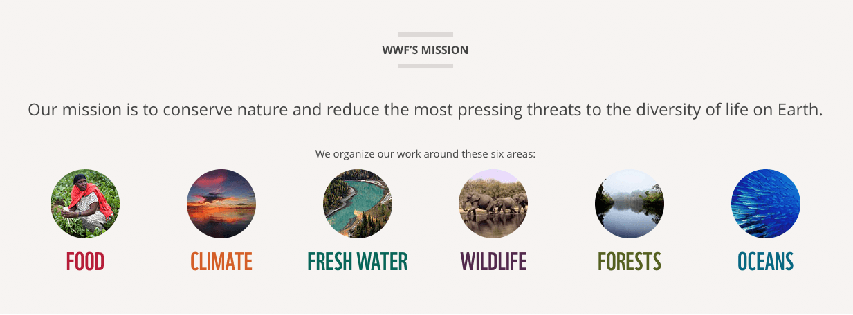 WWF's mission statement is clear and accessible, and they link out to categorized information about each area of the environment they help protect.